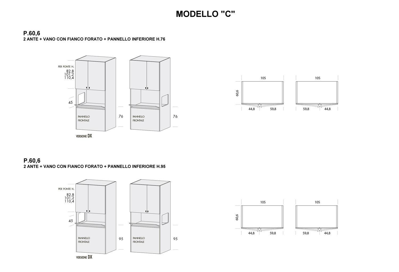 Colonna Duplo modello C con p.60,6 cm e pannello inferiore altezza 76 cm e 95 cm