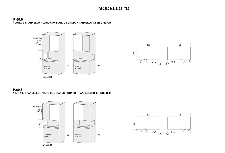 Colonna Duplo modello D con p.60,6 cm e pannello inferiore altezza 76 cm e 95 cm