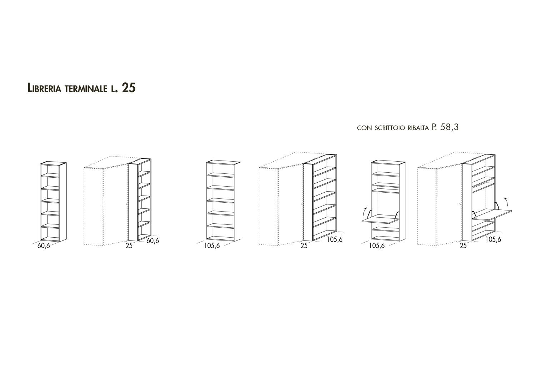 Modelli e dimensioni libreria terminale per cabina armadio Start-Angolare