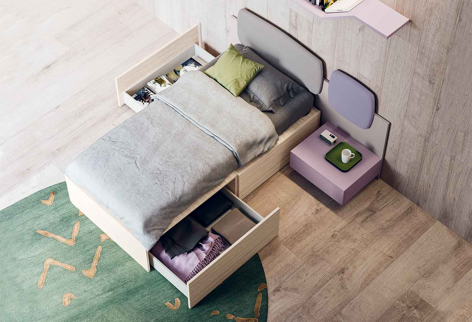 Single bed with two upholstered panels