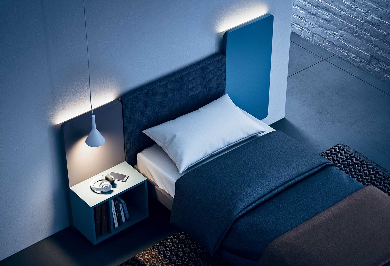 Pannelli Wall con comodino integrato e luci led opzionali