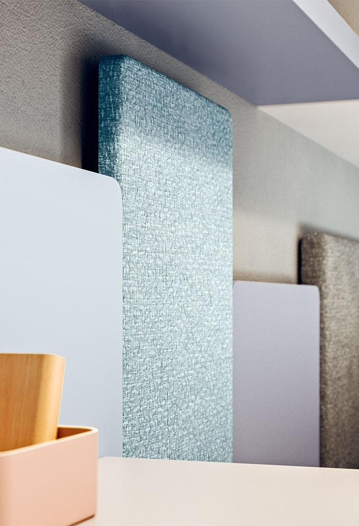 Dettaglio dei pannelli imbottiti da parete Wall