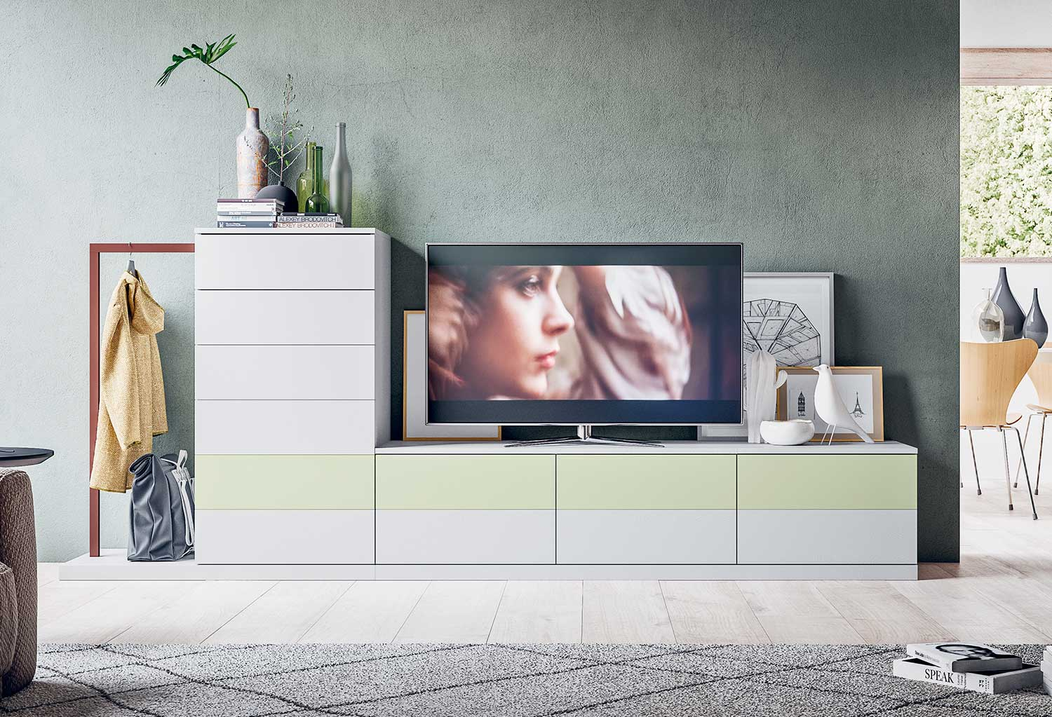 Start 20.20 modular tv unit with drawers and integrated coat rack. Perfect for living rooms and hallways, it is fully customizable.