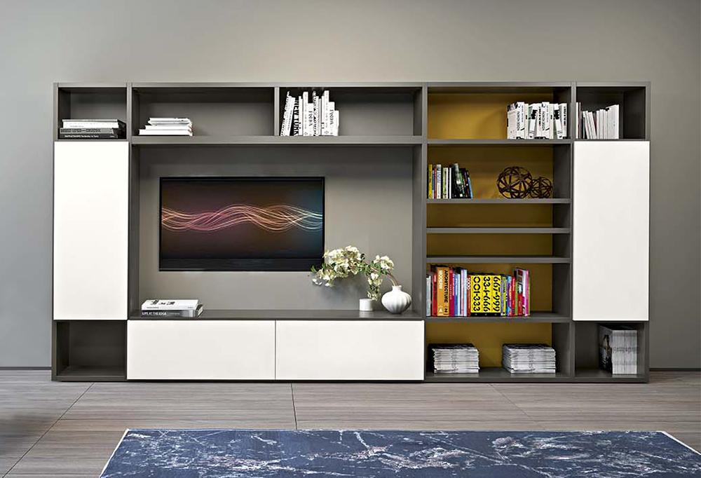 Libreria componibile con spazio per televisore sospeso a parete o in appoggio su base contenitore