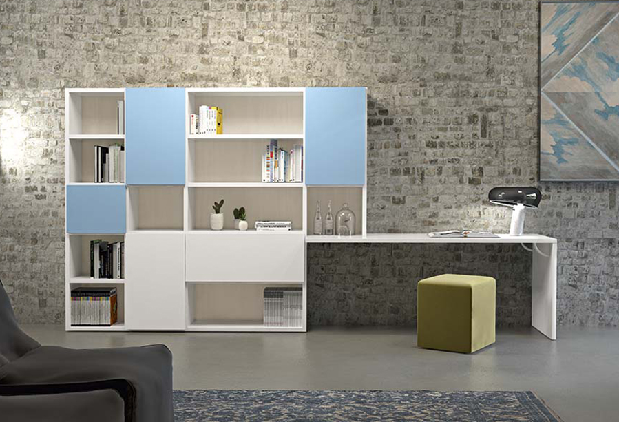 Home office in soggiorno con wall system 5 clever it - Parete attrezzata con scrivania ...