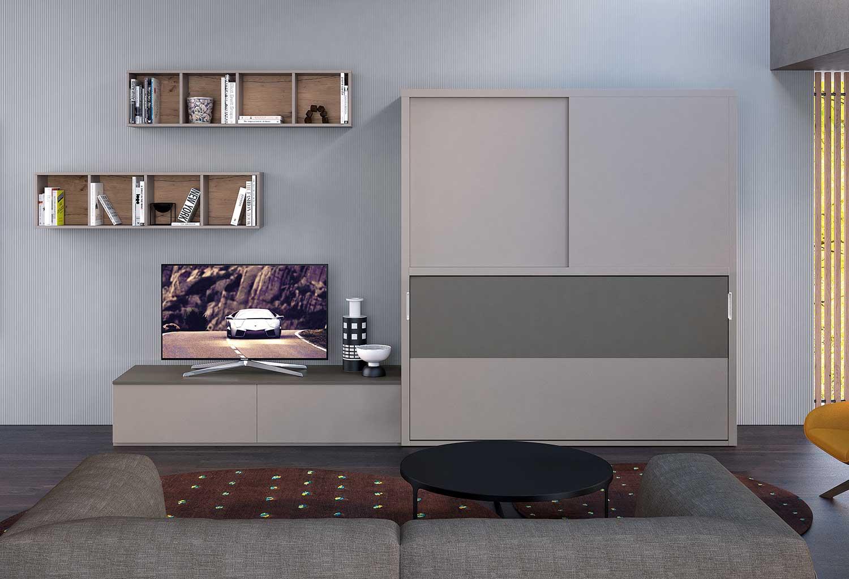 Idee soggiorno attrezzato con armadio con letto a scomparsa e base porta tv