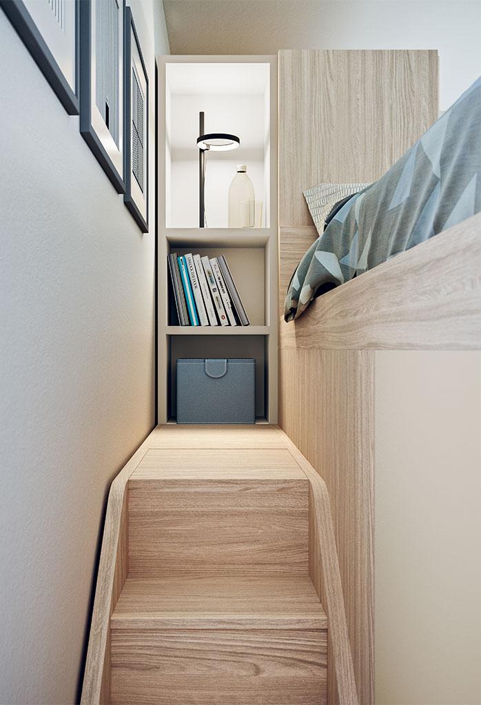 La scaletta retro-letto termina con ripiani a giorno da usare come comodino e libreria