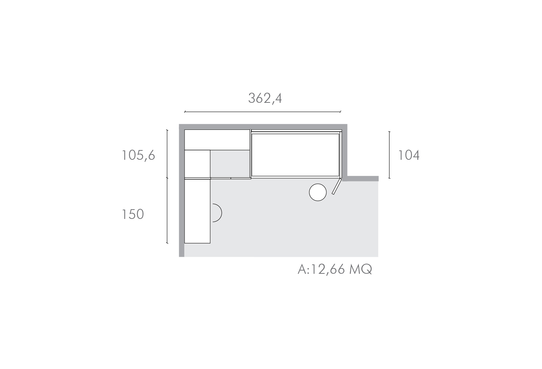 Piantina della cameretta di 12 mq