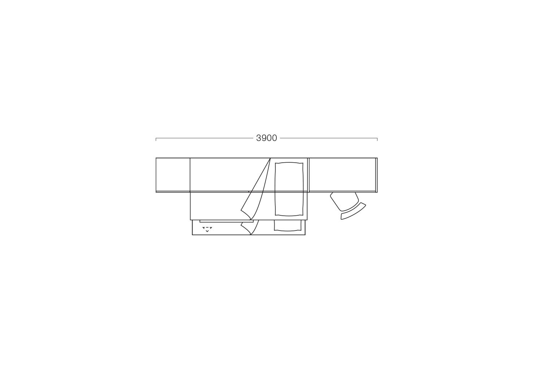 Piantina dell'arredamento cameretta larghezza 390 cm