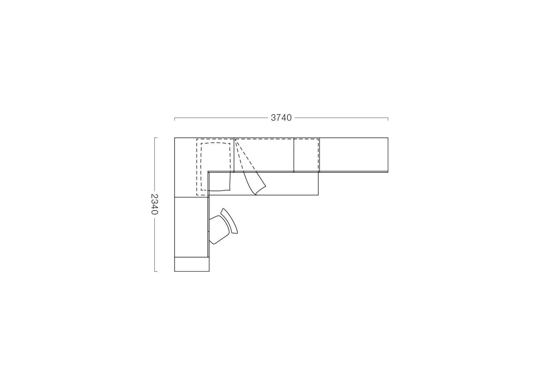 Floor plan with furniture arrangement