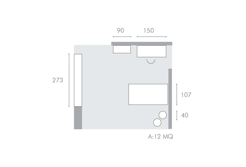Piantina della cameretta singola da 12 mq