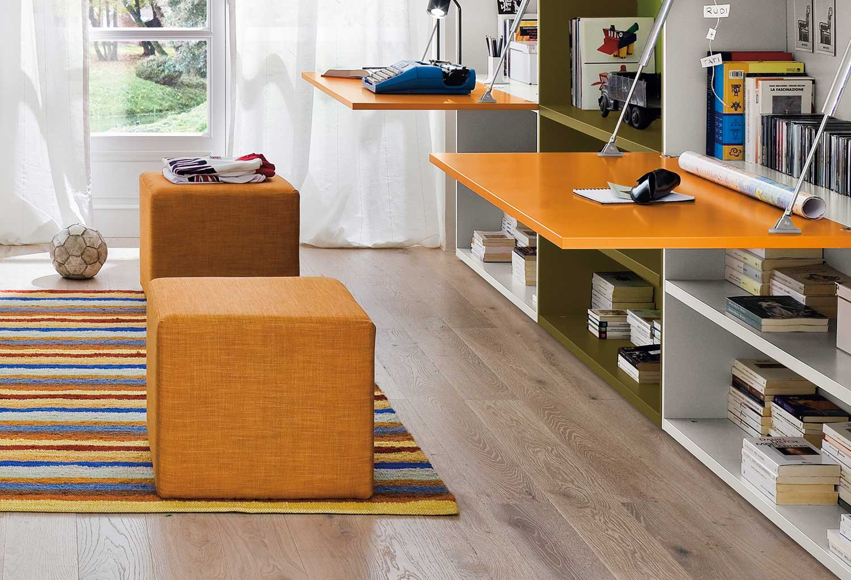 Il pouf Start può essere posizionato in cameretta ai piedi del letto o vicino alla scrivania