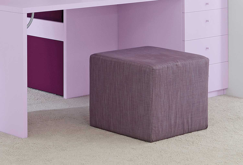 Il pouf cubo Start è disponibile in tessuti tinta unita o a fantasia, pied de poul, tartan