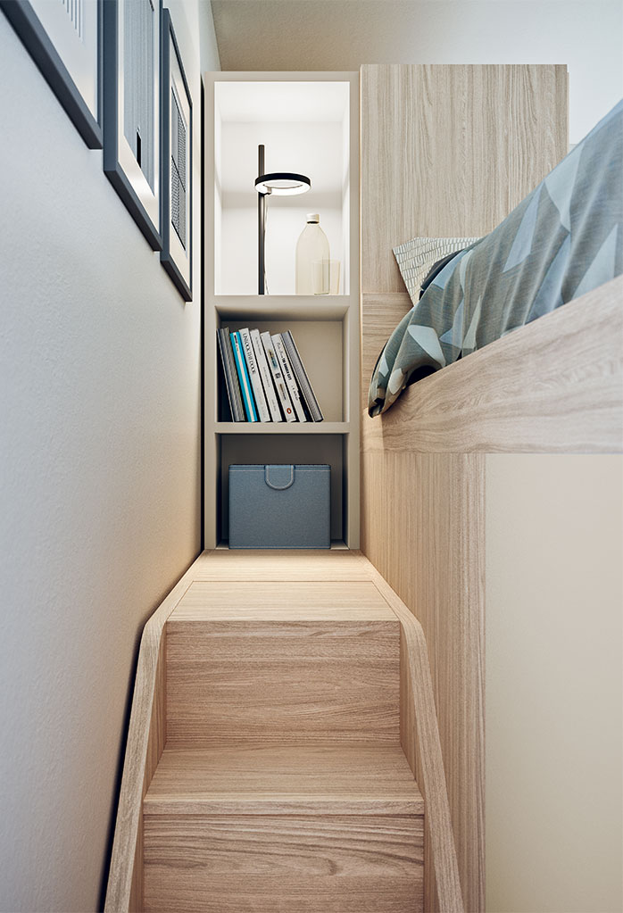 Stair with storage steps, walkway and end bookcase
