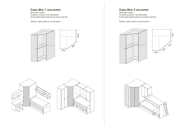 Dimensioni ed esempi compositivi cabina armadio Maxy