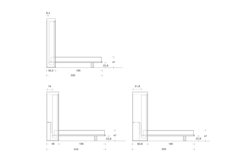 Schema dimensioni mobile con tavolo e letto a scomparsa Ima