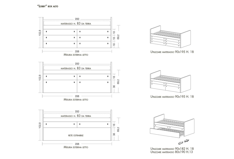Schemi e dimensioni letto Lobby Box alto