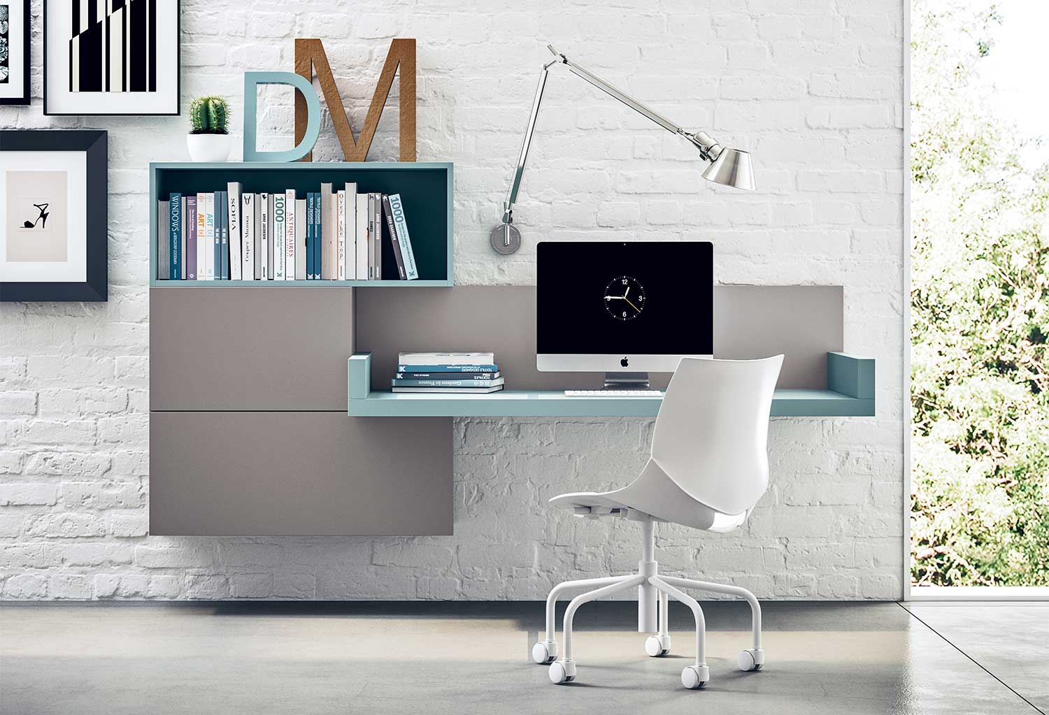 Floating wall desk integrated with wall storage units and shelving
