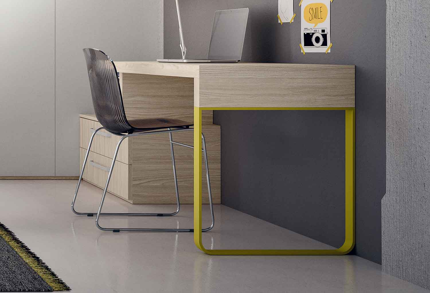 Slitta desk with one sleigh leg and drawer unit base