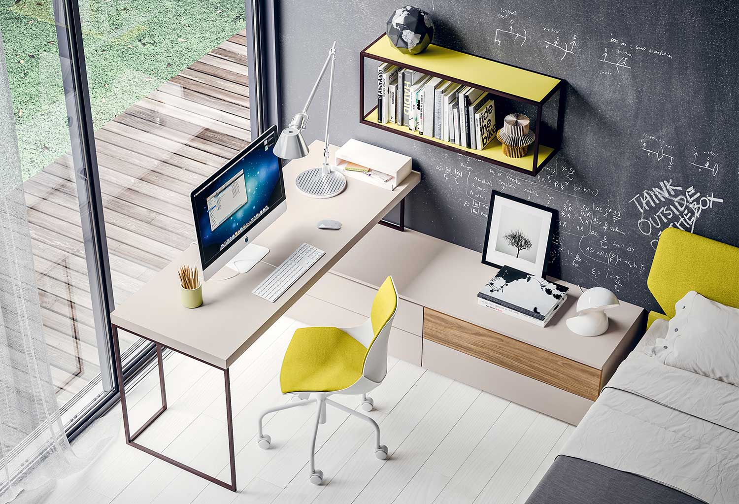 Desk with integrated drawer units