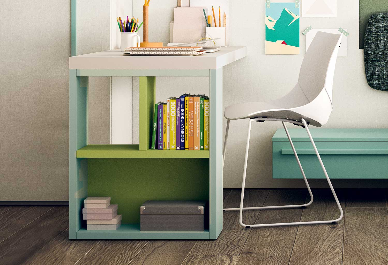 Desk bookcase combo Start