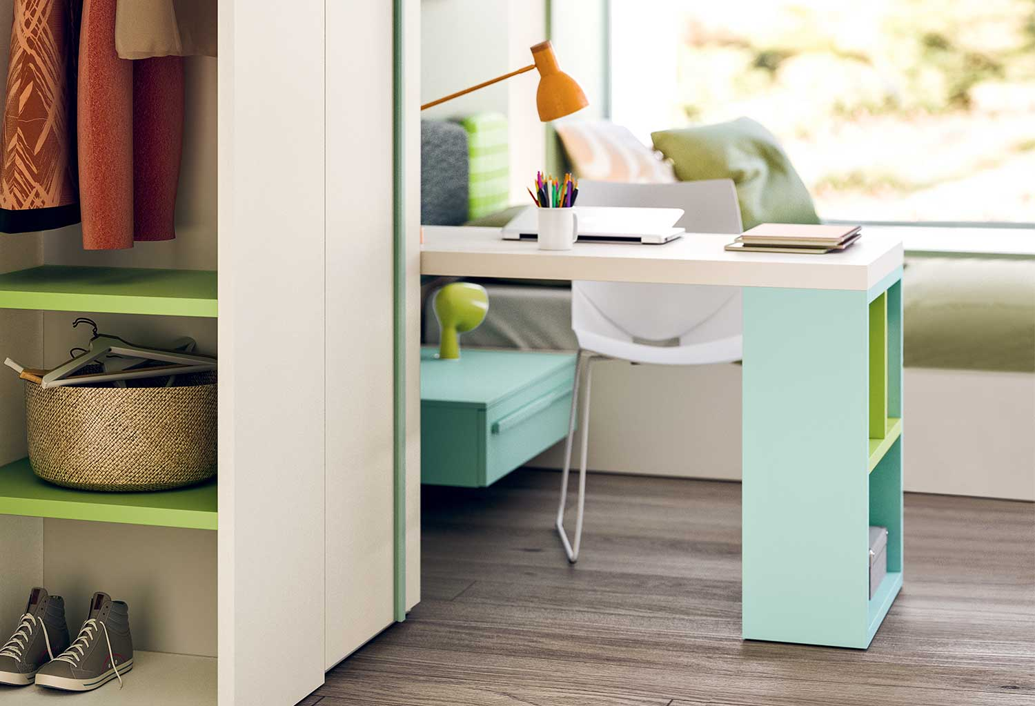 Desk bookcase combination for kids and teens bedrooms