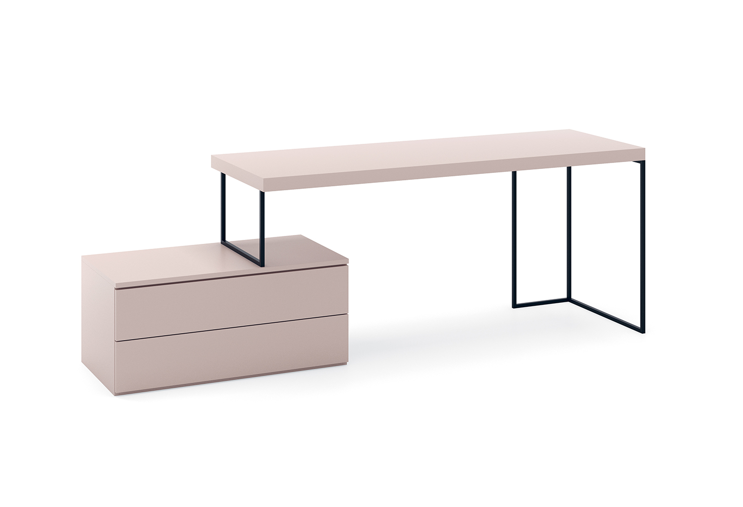 Kios desk with metal frame and integrated drawer unit