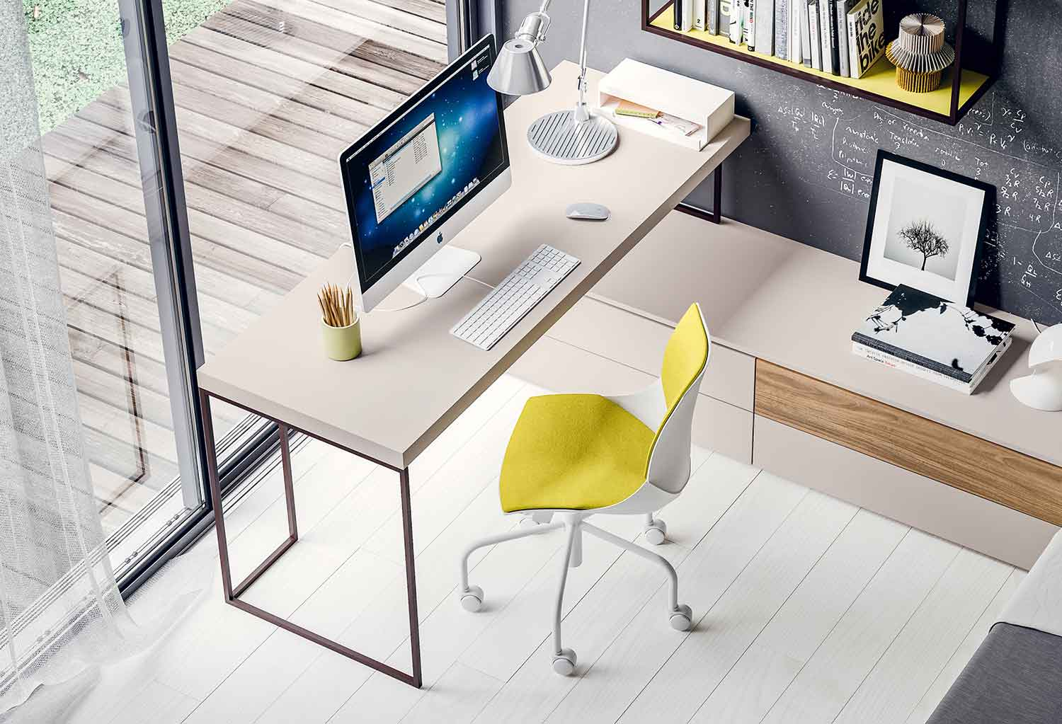 Kios metal frame desk and integrated drawer units