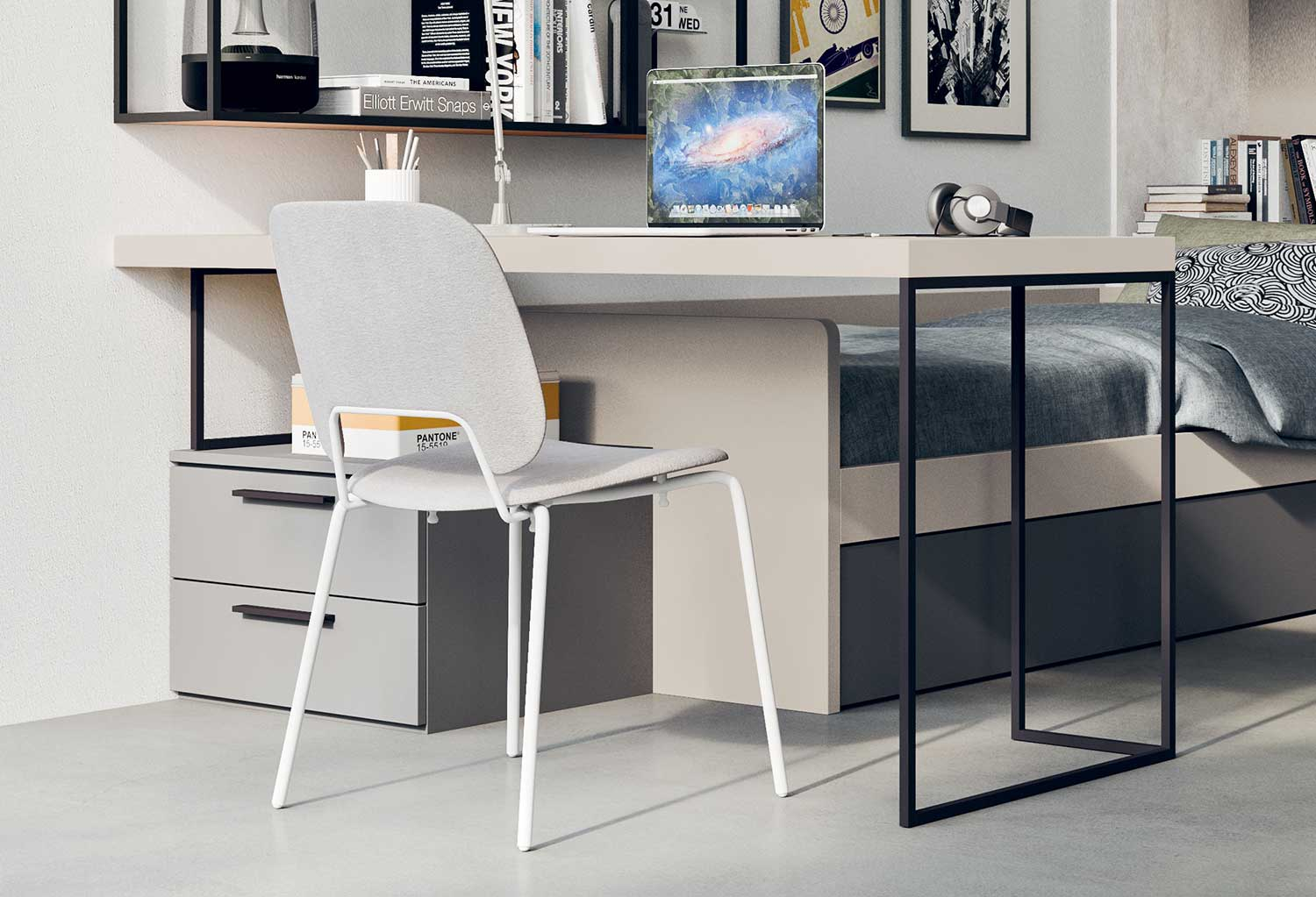 Desk with metal leg on one side and drawer unit on the other