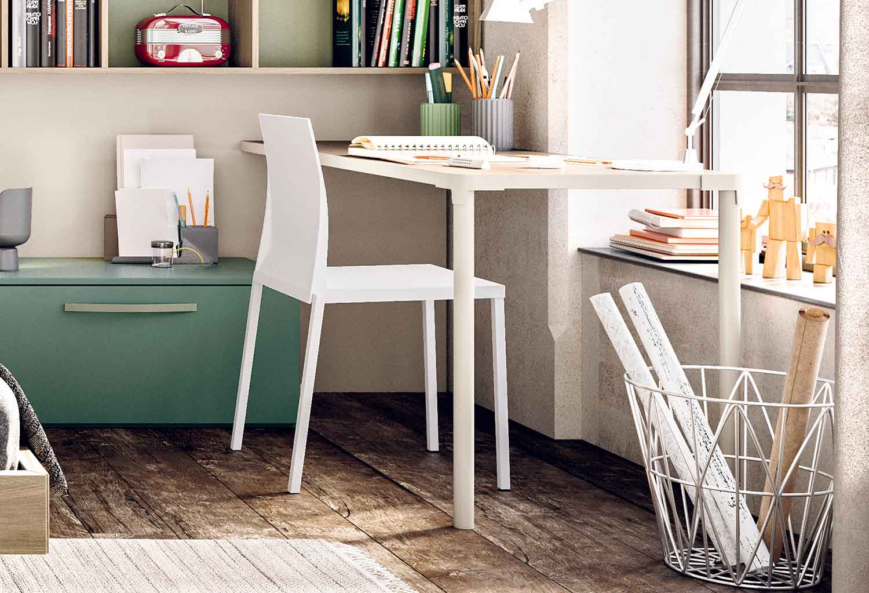 Wall desk Slim in a corner layout