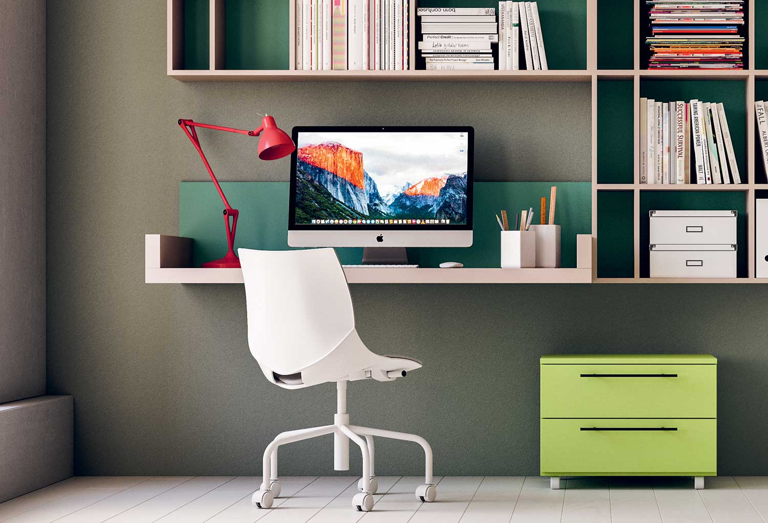 Floating wall desk integrated with bookcase