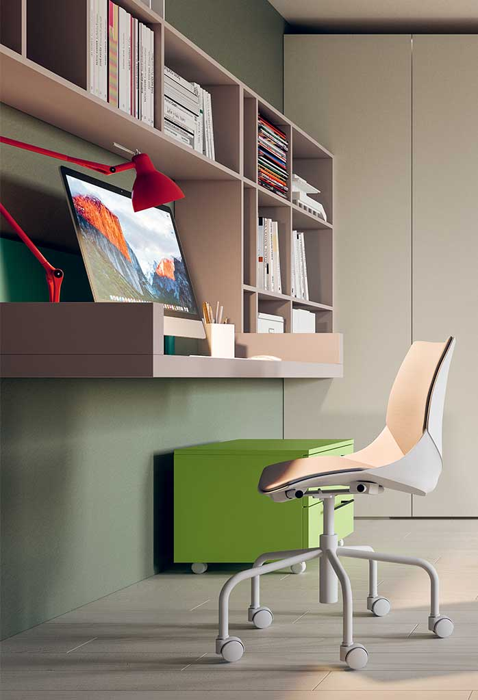 Floating wall desk and shelves for the perfect study area