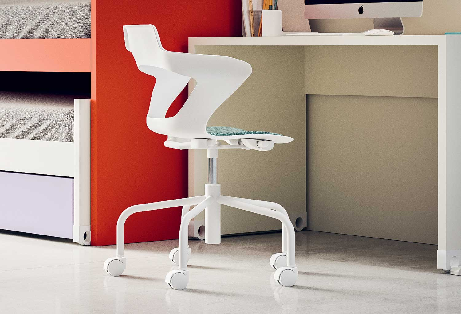 Teen desk chair with adjustable seat and padded seat