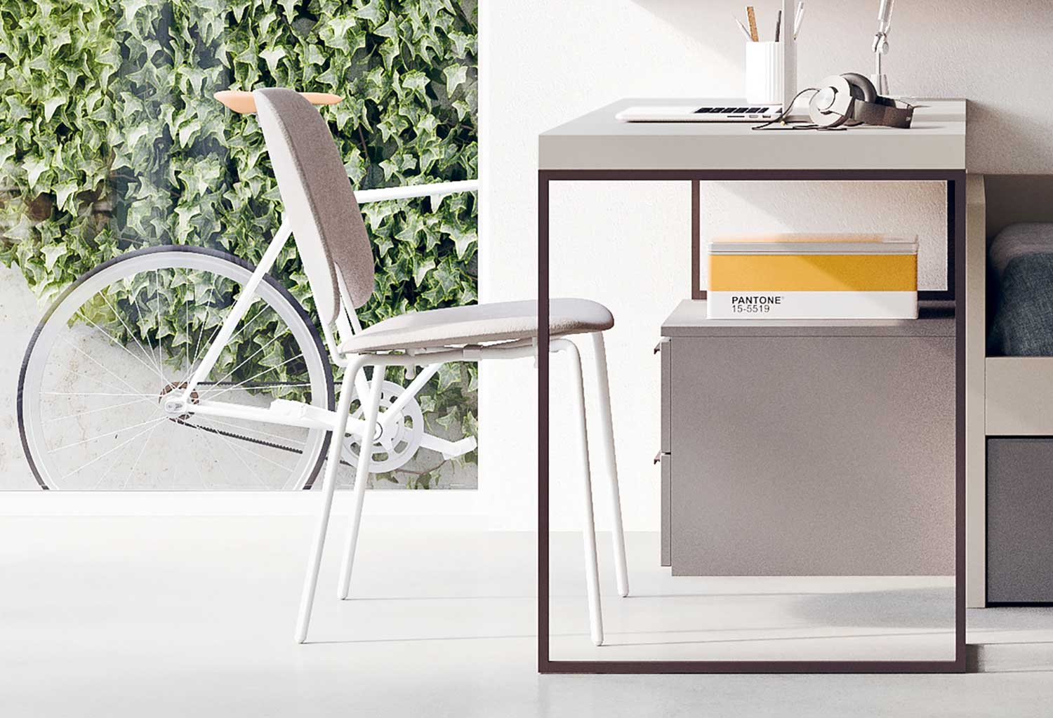 The white painted metal legs and light fabric of the seat give the chair a modern scandi look