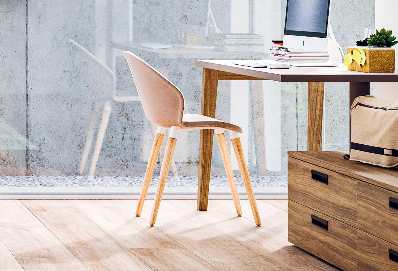 Zen è una sedia con gambe in legno naturale, disponibili anche in laccato bianco