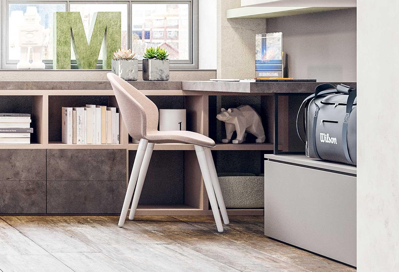 La seduta della sedia Zen è disponibile in tessuto colorato o in polipropilene bianco