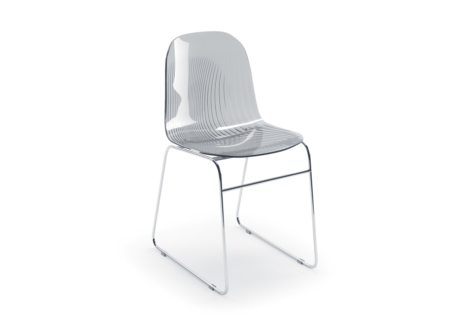 The chair seat is made of styrene plastic, a sturdy material here with decorative stripes