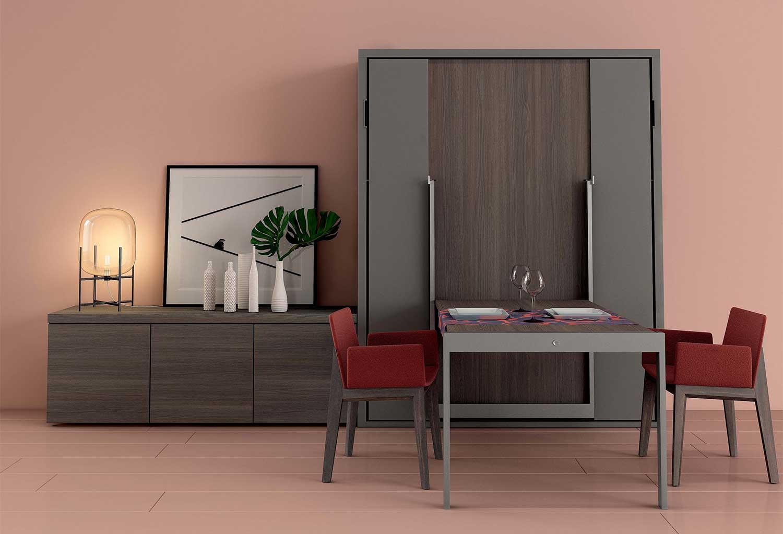 Mobile soggiorno con letto a scomparsa e tavolo a ribalta