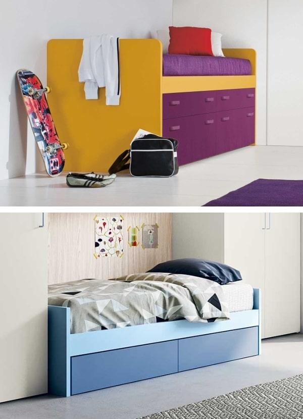 Due modelli di letto con cassetti