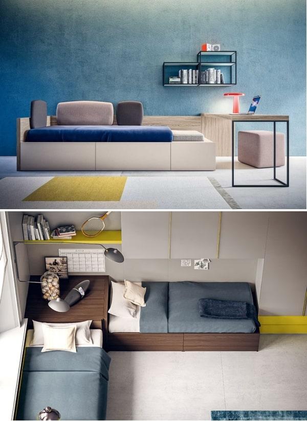 Camerette con mobili in legno chiaro e scuro