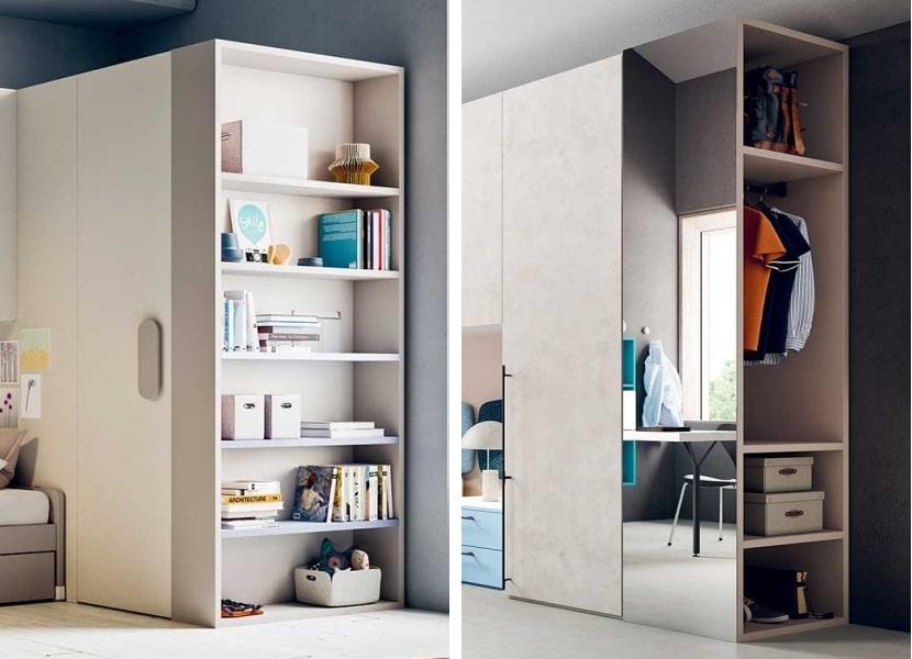 Due modelli di libreria laterale integrata all'armadio