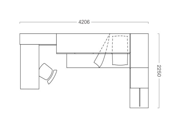 Piantina di camera per ragazzi con ponte angolare P27