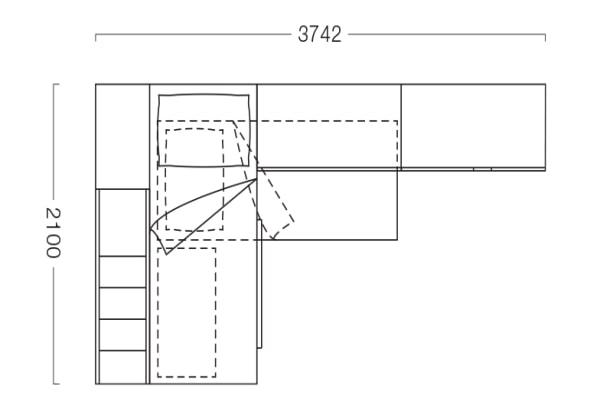 Piantina di cameretta con soppalco e armadio angolari S30