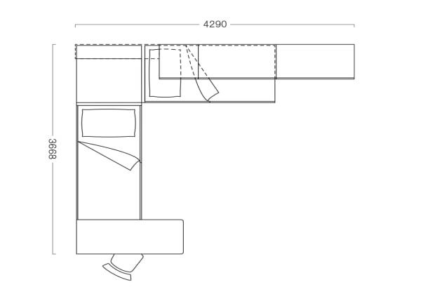 Piantina di cameretta angolare con 2 letti P20