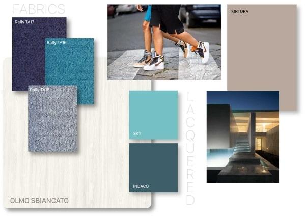 Moodboard di Clever sui toni del grigio e dell'azzurro