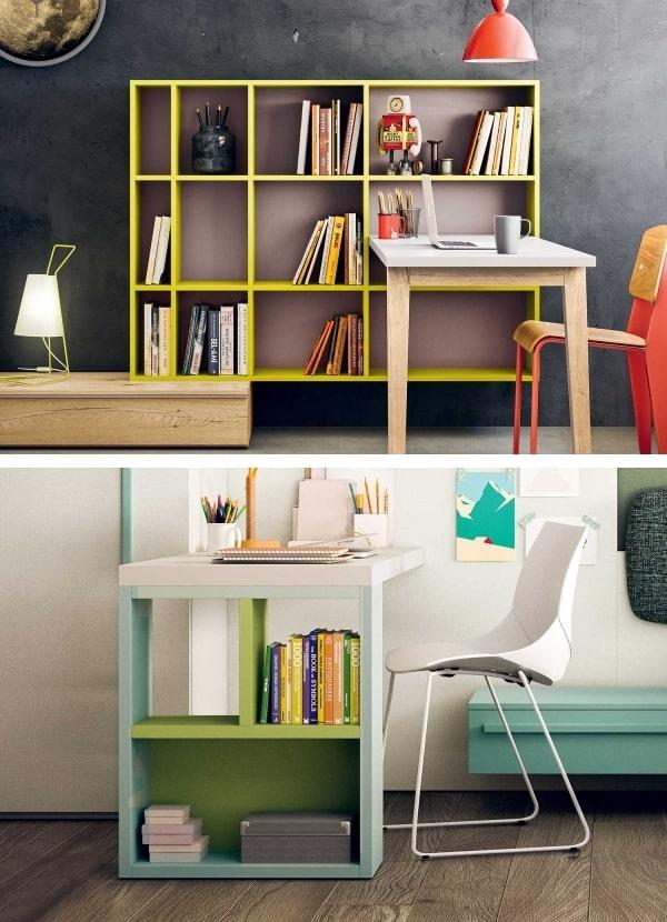 Due modelli di scrivania con libreria integrata