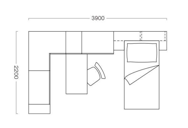 Piantina di cameretta con ponte e armadio ad angolo T11