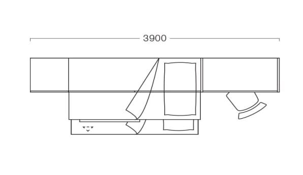 Piantina di cameretta lunga e stretta per due P21