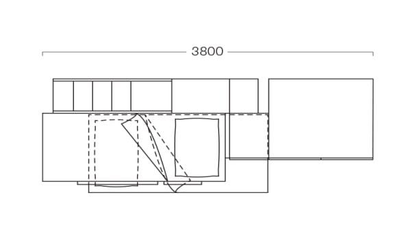 Piantina di cameretta con soppalco di 380 cm S29