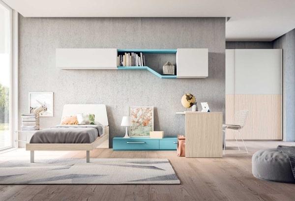 Cameretta in legno chiaro, grigio e azzurro